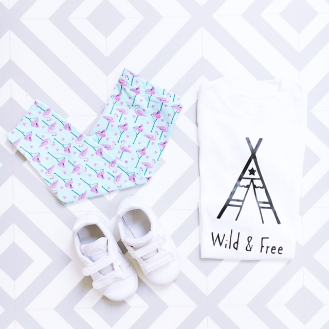 kids fashion flat lay teepee flamingoes nike