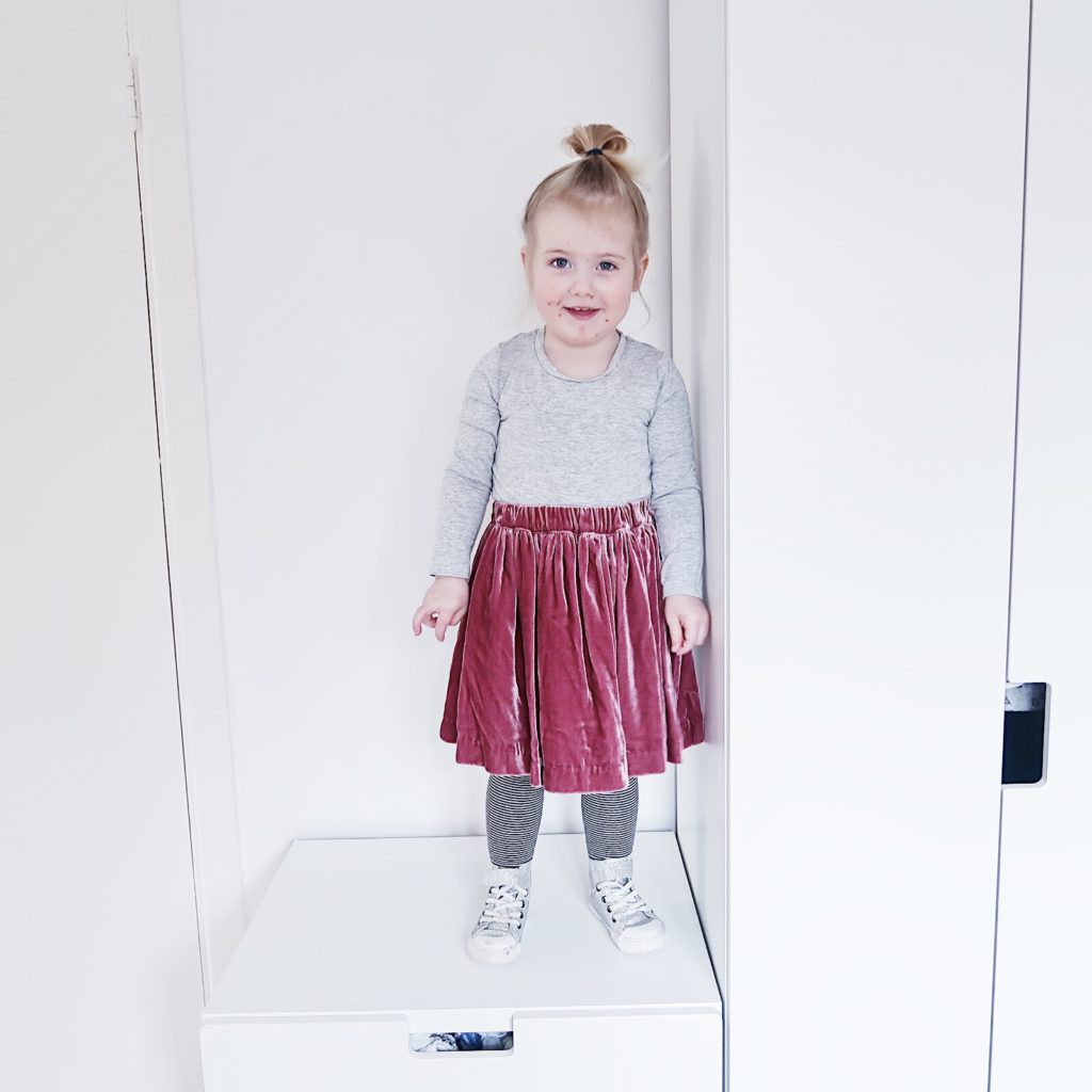 toddler girl ootd velvet skirt