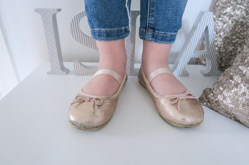 what my kids wore h&m rose gold shoes